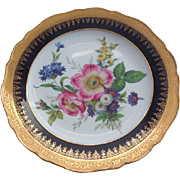 "Multi-Floral Limoges France Decorative 9.75"" Cobalt Gold Porcelain Plate"