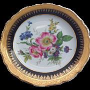 """Multi-Floral Limoges France Decorative 9.75"""" Cobalt Gold Porcelain Plate"""