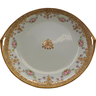 Nippon Hand Painted Double Handled White Plate with Floral Design, trimmed in Gold