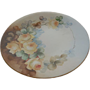 JPL French Limoges Floral Porcelain Plate Hand Painted