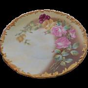 T & V 1907 Hand Painted Roses Limoges France Plate Artist Signed