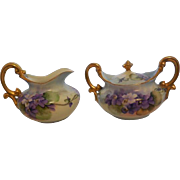 T & V Limoges France Sugar Bowl and Creamer: designed with Violets