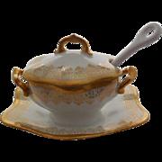 B & H Limoges France  Hand Painted Porcelain Jam/Jelly Jar/Dish