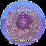 "Rare 1910-11 Dugan Carnival Fanciful 9"" Cobalt Blue Crust Rim Plate"