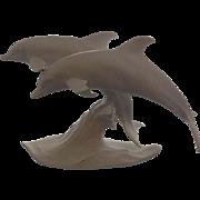 AK Kaiser White Bisque Porcelain Pair Dolphins