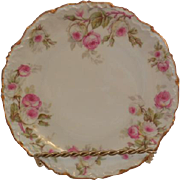 Limoges Elite Works Porcelain Plate Roses with Gold Gilt France 8.5""