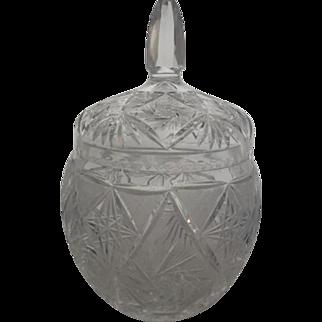 1930's American Brilliant Cut CrystalTobacco Jar Block Star Fan Geometric Design