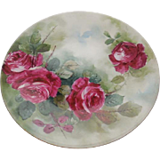 JPL Limoges France Hand Painted Red Roses Plate Signed