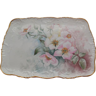 T & V Limoges Hand Painted Victorian Wild Pink Roses Tray