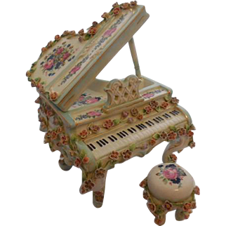 Dresden Porcelain Floral Piano with Music Box - Mint Condition
