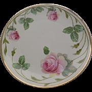 Erdmann Schlegelmilch 1930's Green Prussia Hand Painted Tea Rose Plate Artist Signed