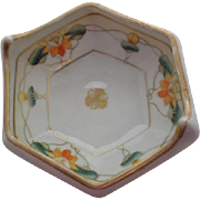 Nippon Hand Painted with Orange Lotus Blossoms Dish Gold Trim