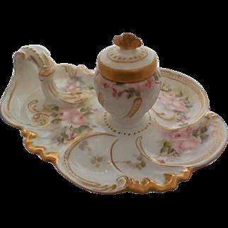 Elite Limoges France Hand Painted Floral Roses Porcelain Inkwell Set