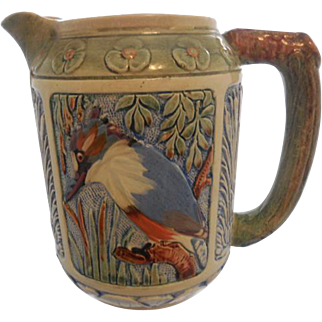 Rare Weller Large Zona Rustic Kingfisher in Tree Medallion Pitcher with Cattails