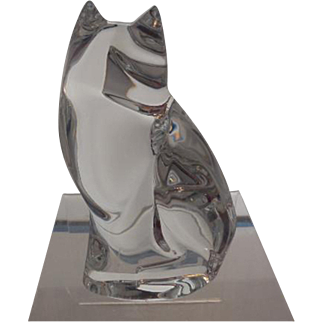 Val St. Lambert DeSousce Clear Crystal Fox Figurine