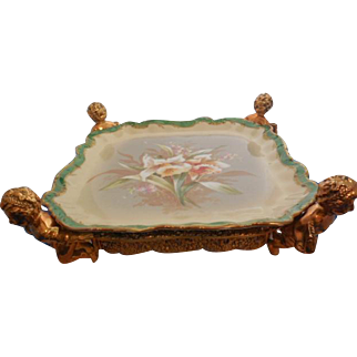 Antique Rare Coiffe/Lazarus Straus Hand Painted Limoges Platter fit to Ormolu Plate