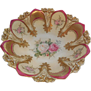 Antique RS Prussia Deep Fuchsia & Floral Decorated 10.25 Bowl Mold 90