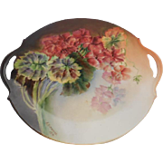 Limoges France Hand Painted Porcelain Charger, Artist Signed and Dated 1914