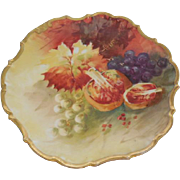 Limoges France LDBC Flambeau Hand Painted Fruits, Artist Signed 9 5/8 inches