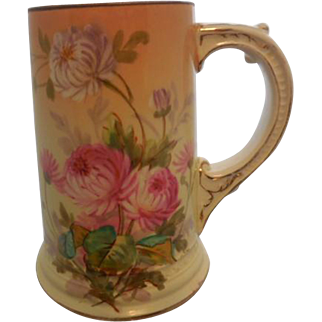 William Guerin & Co. Limoges France Hand Painted Porcelain Floral Mug/Stein