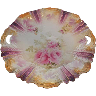 RS Prussia Large Cake Plate (Pink and yellow Roses)