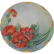 "Haviland Limoges France Hand Painted 8.5"" Porcelain Orange Poppies Plate"