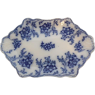 Johnson Bros. English Semi Porcelain Sculpted 1898 Flow Blue Platter