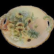 """T & V Limoges France Venice Daisy Floral Porcelain Handled Plate 11 1/8"""""""