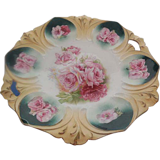 RS Prussia Porcelain Red Mark Open Handle Floral Plate