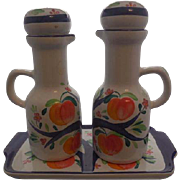 Set of 2 Herend Porcelain Cruets with matching Tray