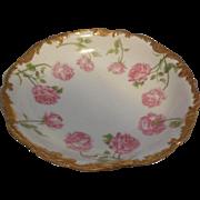 T & V 1891 Antique Limoges France Porcelain Bowl Pink Roses Gold Gilt