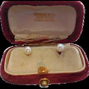 Rare Tiffany & Co. 14k Natural Pearl Studs in Original Tiffany Velvet Box