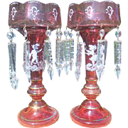 Pair of Bohemian Cranberry Mary Gregory Glass Lusters with Prisims