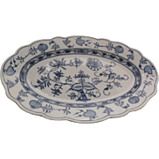 "Johnson Bros. 1920's Holland Blue Meissen Flow Blue Onion Transfer Platter 14"" x 9"" x 1.5"""