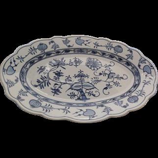 "Johnson Bros. 1920's Holland Blue Meissen Flow Blue Onion Transfer Platter 14"" x 9"" x 1.5"""