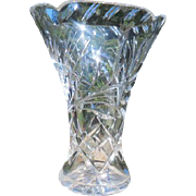 Cut Crystal Contempory Oval Vase