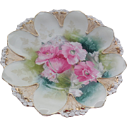 "RS Prussia 8.75"" Shallow Dish, Pink Floral. Flower Mold, Victorian Shallow Bowl"