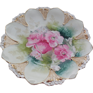 """RS Prussia 8.75"""" Shallow Dish, Pink Floral. Flower Mold, Victorian Shallow Bowl"""