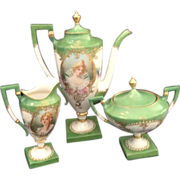 American Belleek / Ceramic Art. Co. Double Portrait Coffee Service