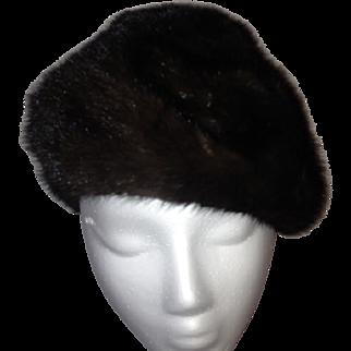 1960s Mahogany Mink Cloche Hat
