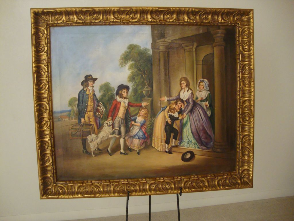 """Homecoming"" (oil on canvas) ; by: M. Harrington; Signed: lower left"
