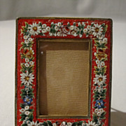 Mosaic Easel-Back Picture Frame (floral motif on red)