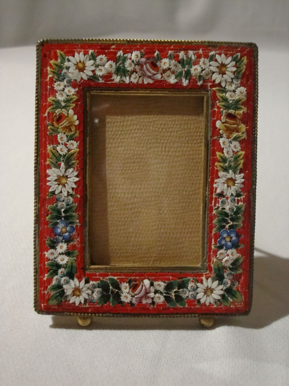 Mosaic Easel Back Picture Frame Floral Motif On Red From