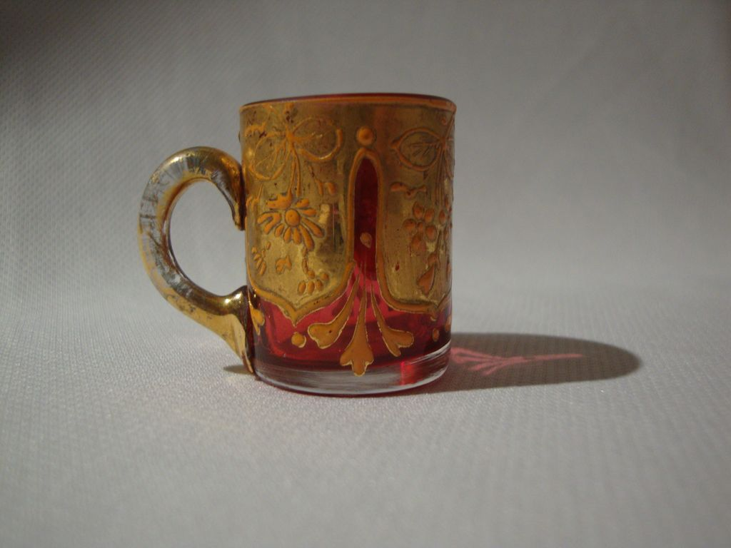 Bohemian Miniature Cased Glass Mug; Crystal over Cranberry