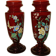 Matched Pair Moser Dark Ruby Red Mantle Vases