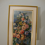 Generous Floral Arrangement in Urn; Watercolor on Paper