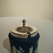 Wedgwood Medium Blue Jasperware 19th Century Jam – Marmalade Pot with Silver Plate Lid