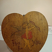 Vintage Valentine Pyrography Wall Plaque