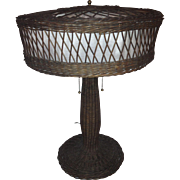 Natural Wicker Table Lamp; CIRCA 1915