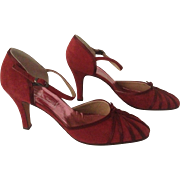 Geoffrey Beene 1980's Raspberry Suede Ankle Strap D'orsay Pumps 8 ½ AA